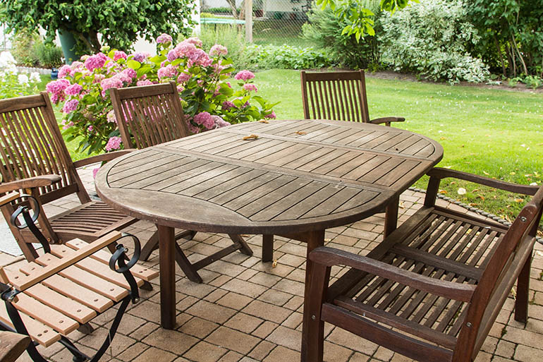 outdoor furniture wooden table chairs